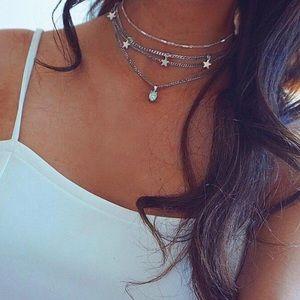 Jewelry - 3/$30 Star Choker Necklace Silver Boho Pendant